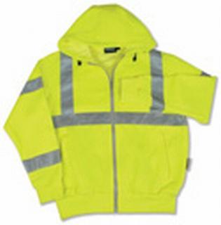 ANSI Class 3 Hooded Sweatshirt 7oz Polyester Fleece Hi-Viz - Zipper