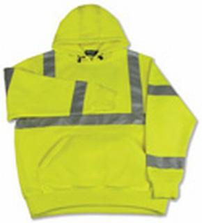 ANSI Class 3 Hooded Sweatshirt 7oz Polyester Fleece Hi-Viz - Pull Over