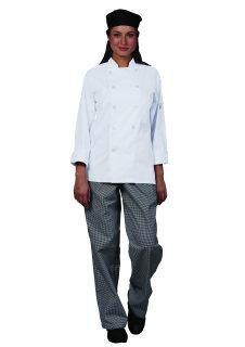 Unisex White P/C Prof Chef Coat/10 Btns