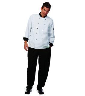 Unisex White LS Metro Chef Coat/BlkTrim