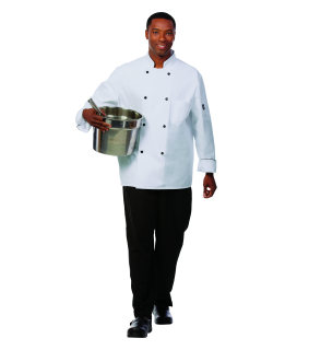Unisex White P/C Metro Chef Coat/Piping