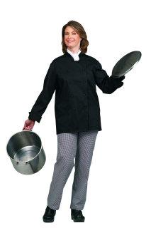 Unisex Blk PTF Premium Chef Coat/10 Btn