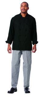 Unisex Black RecPoly LS Chef Coat/10 KB