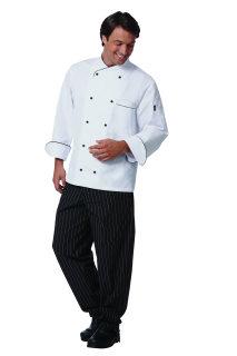 Uni Wht 100C LS Chef Coat/BlkTrim/10Stud