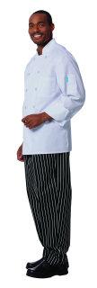 Unisex White FLT LS Chef Coat/Mesh Back