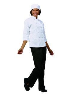 Ladies White FLT LS Chef Coat/10 Btns