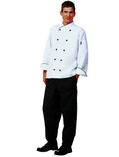 Uni Wht FLT LS Chef Coat/Blk Trim/10Btns