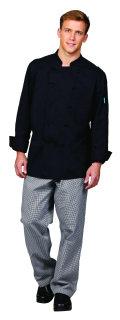 Unisex Black Twl Cool Edge LS Chef Coat