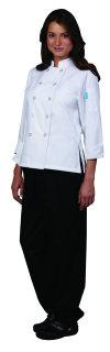 Ladies White 3/4 Sleeve Cool Edge Chef Coat