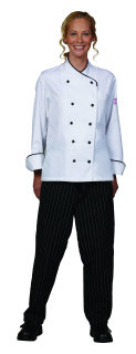 Ladies White Chef Coat/Black Trim