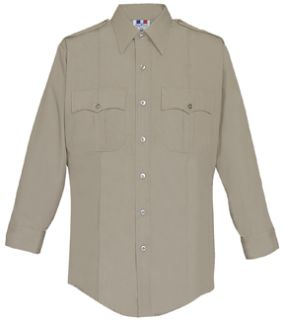 Womens Silver Tan Long Sleeve 65/35 Poly/Cotton Duro Poplin Shirt-