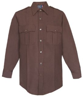 Womens Brown Tall Long Sleeve 100% Visa®; System 3 Polyester Shirt-