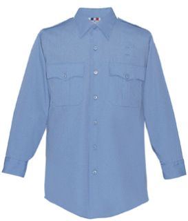 Womens Medium Blue Plain Long Sleeve 65/35 Poly/Cotton Duro Poplin Shirt-