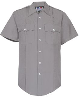 Womens Silver Grey Short Sleeve 65/35 Poly/Rayon Deluxe Tropical Shirt-Flying Cross