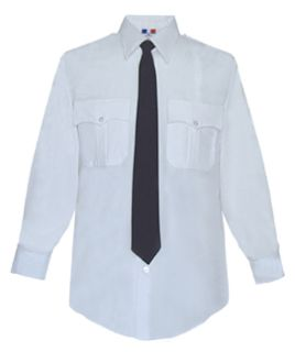 Mens White Plain Long Sleeve 65/35 Poly/Cotton Duro Poplin Shirt-
