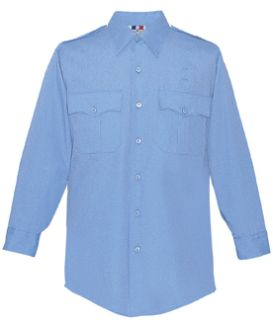 Mens Medium Blue Plain Long Sleeve 65/35 Poly/Cotton Duro Poplin Shirt-Flying Cross