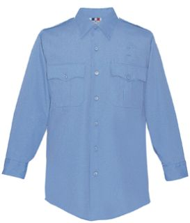 Mens Marine Blue Plain Long Sleeve 65/35 Poly/Cotton Duro Poplin Shirt-Flying Cross