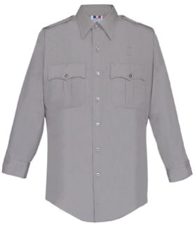 Mens Silver Grey Plain Long Sleeve 65/35 Poly/Cotton Duro Poplin Shirt-