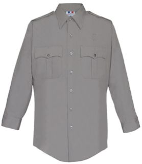 Mens Nickel Grey Plain Long Sleeve 65/35 Poly/Cotton Duro Poplin Shirt-