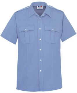 Womens Marine Blue Short Sleeve 65/35 Poly/Cotton Duro Poplin Shirt-