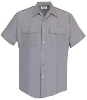 Womens Silver Grey Short Sleeve 65/35 Poly/Cotton Duro Poplin Shirt-Flying Cross