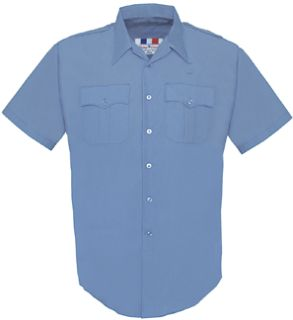 Womens Medium Blue Plain Short Sleeve 65/35 Poly/Cotton Duro Poplin Shirt-