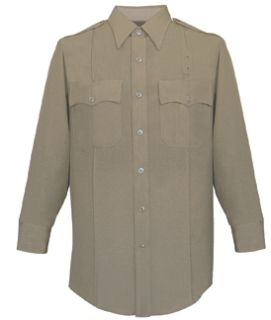 Mens Silver Tan Long Sleeve 65/35 Poly/Rayon Deluxe Tropical Shirt-