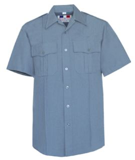Womens French Blue Short Sleeve 65/35 Poly/Rayon Deluxe Tropical Shirt-Flying Cross