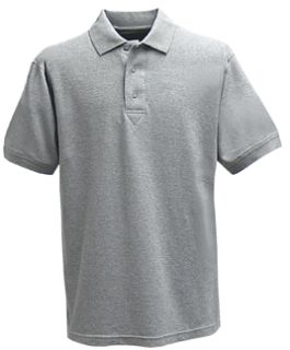 Heather Grey Power Polo Short Sleeve Shirt, 100% Cotton, Pique-