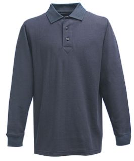 LAPD Navy Power Polo Long Sleeve Shirt, 100% Cotton, Pique-Flying Cross