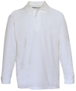 White Power Polo Long Sleeve Shirt, 100% Cotton, Pique-