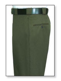 Mens Forest Green T-3 Trouser, 55/45 Polyester/Wool, Elastique Weave-