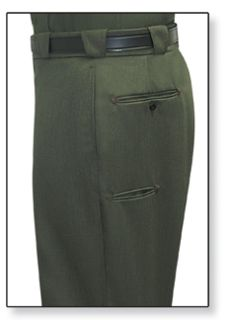 Mens Forest Green T-6 Trouser, 55/45 Polyester/Wool, Elastique Weave-Flying Cross