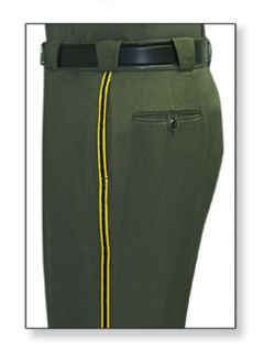 Mens Forest Green T-3 Trouser, 55/45 Polyester/Wool, Serge Weave-