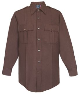 Mens Brown Long Sleeve Zippered Front 100% Visa®; System 3 Polyester Shirt-
