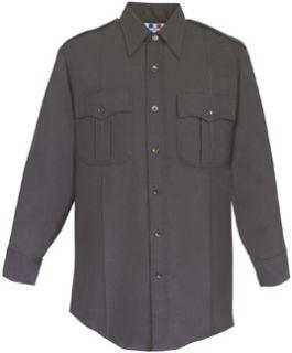 Mens Black Long Sleeve 65/35 Poly/Cotton Twill Shirt-