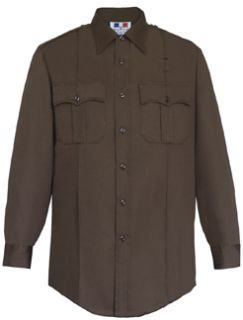 Mens Dark Brown Long Sleeve 65/35 Poly/Cotton Twill Shirt-