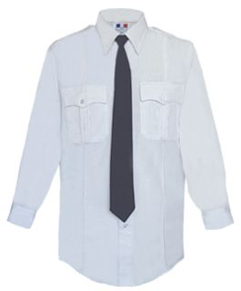 Mens White Long Sleeve 65/35 Poly/Cotton Duro Poplin Shirt-