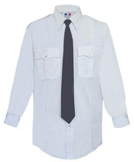 Mens White Long Sleeve 65/35 Poly/Cotton Duro Poplin Shirt-Flying Cross