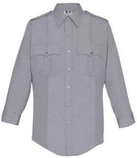 Mens Silver Grey Long Sleeve 65/35 Poly/Cotton Duro Poplin Shirt-