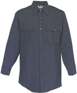 Mens Navy Blue Long Sleeve 65/35 Poly/Cotton Duro Poplin Shirt-Flying Cross
