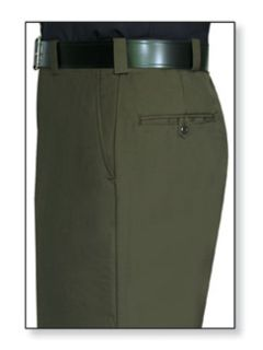 Mens Forest Green T-1, 75/25 Polyester/Wool Trouser, Serge Weave-Flying Cross