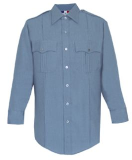 Mens French Blue Long Sleeve 65/35 Poly/Rayon Deluxe Tropical Shirt-