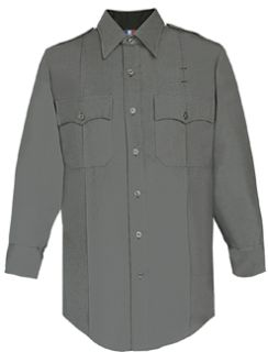 Mens Nickel Grey Long Sleeve 65/35 Poly/Rayon Deluxe Tropical Shirt-