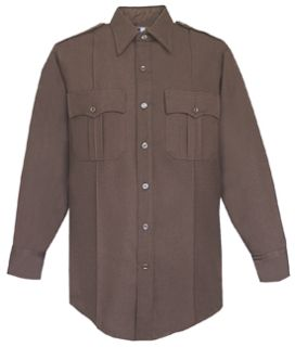 Mens Dark Brown Long Sleeve 65/35 Poly/Rayon Deluxe Tropical Shirt-