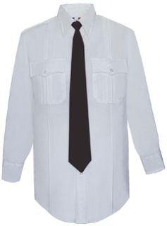 Mens White Long Sleeve Deluxe Tactical Shirt 68/30/2 Poly/Rayon/Lycra®;-