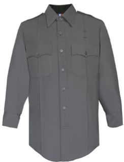 Mens Slate Grey Long Sleeve 65/35 Poly/Rayon Deluxe Tropical Shirt-Flying Cross