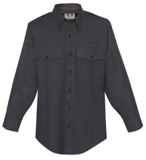 Mens Black Long Sleeve 68/30/2 Poly/Rayon/Lycra® Shirt-