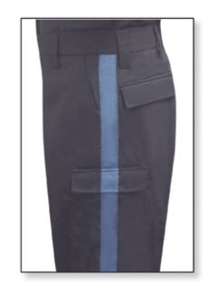 Mens LAPD Navy w/French Blue Stripe T-11 65/35 Poly/Cotton Twill Trouser-
