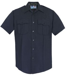 Men's LAPD Navy Short Sleeve Shirt, Zippered Front, 75/24/1 Polyester/Wool/Lycra®;